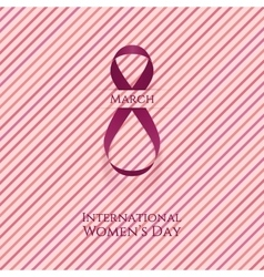 March 8 Womens Day curved pink greeting Ribbon vector image