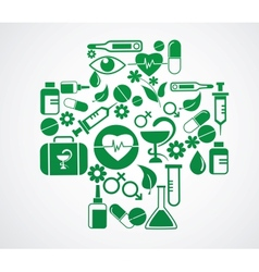 medical cross with health icon set on white vector image