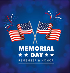 Memorial day honoring all who served with flags vector