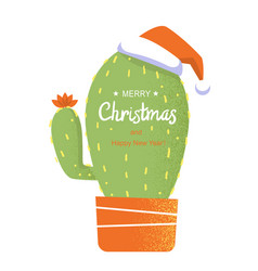 Merry christmas card with cactus and holiday text vector