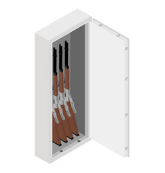 metal safe with rifle gun inside isometric view vector image