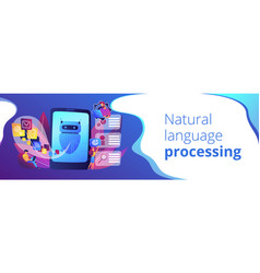 Natural language processing concept banner header vector