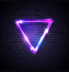 neon led inverted triangle border on brick texture vector image