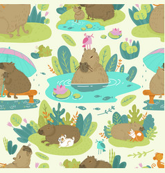 Pattern image capybara on jungle green vector