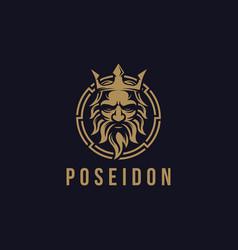 Poseidon nepture god logo icon tritont trident vector