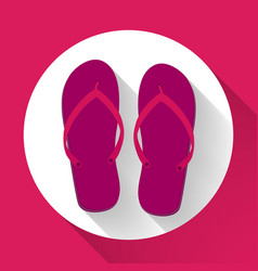 purple beach sandals or slippers icon with long vector image
