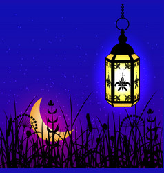 ramadan kareem lantern moon and night sky vector image