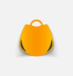 Realistic paper sticker handbag vector
