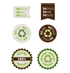 reuse recycle reduce organic seals vector image