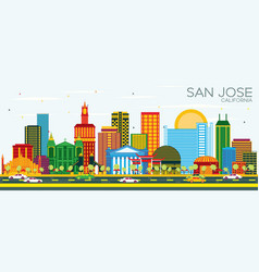 san jose california skyline with color buildings vector image
