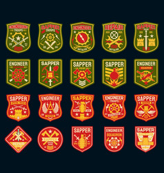 Sapper or combat engineer military patches badges vector