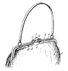 Satchel purse vintage engraving vector