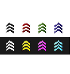 Set military rank icon isolated on black and white vector