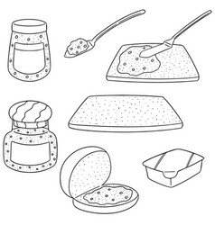 set of jam and bread vector image