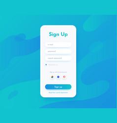 sign up screen mobile app ui for registration vector image