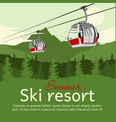 Ski resort with cableway gondola ski lift vector