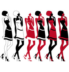 Slim model in six embodiments vector