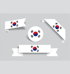 South korean flag stickers and labels vector