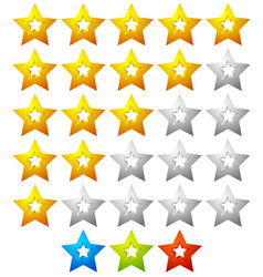 Star rating template with 5 stars quality product vector