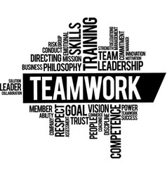Teamwork concept typography composition lettering vector