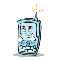 thinking face phone character cartoon style vector image