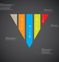 Triangle template consists of five color parts on vector image
