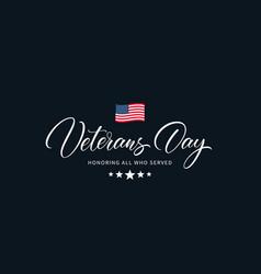 Usa veterans day calligraphic inscription vector