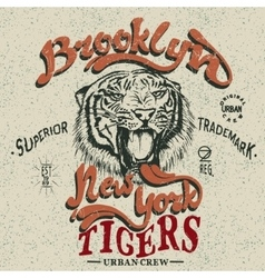 Vintage trademark with tiger vector image