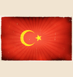 vintage turkey flag poster background vector image