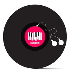 Vinyl LP Record with Headphones and Piano Keyboard vector image