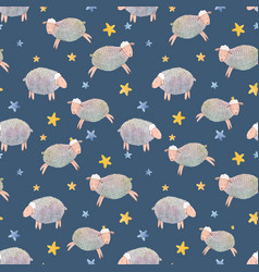 watercolor sheep pattern vector image