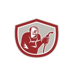 Welder Worker Holding Welding Torch Shield Retro vector image