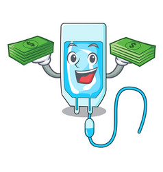 With money bag infussion bottle mascot cartoon vector