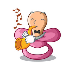 with trumpet cartoon pacifier for a newborn baby vector image
