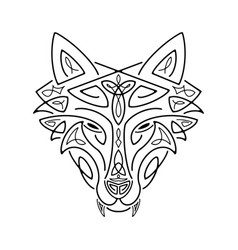 Wolf head celtic style t-shirt typography design vector