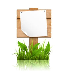Wooden signpost with grass deflected paper and vector image