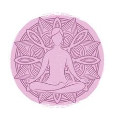 Yoga grunge banner design meditation asana vector
