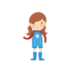 young gardener girl dressed in blue overall shorts vector image