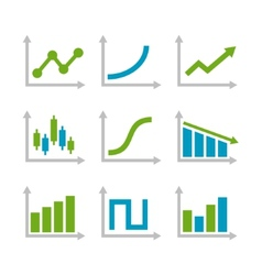 Color Graph Chart Icons Set vector image vector image