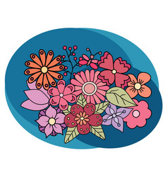flowers design set cartoon free hand draw doodle vector image vector image