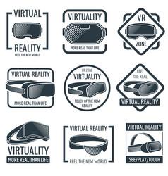 futuristic helmet virtual reality headset logos vector image