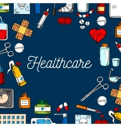 Healthcare and medicine sketched background vector image vector image