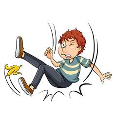 Man slipping on banana skin vector image