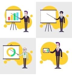 Modern businessmen set Flipchart with colored bar vector image vector image