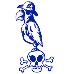 Pirate macaw standing on skull vector