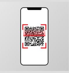 qr code scanning on smart phone screen vector image vector image