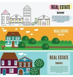Real estate horizontal banners house cottage vector