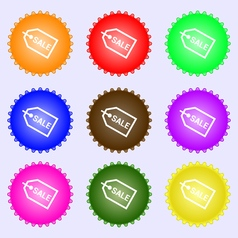 Sale icon sign A set of nine different colored vector image vector image