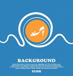 Shoe icon sign Blue and white abstract background vector image vector image
