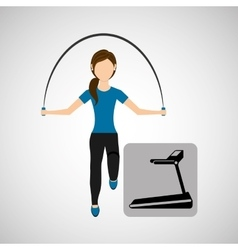 sport woman jumping rope and walking machine vector image